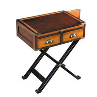 War Chest - Side Table - Features Solid Wood Construction in Honey Finish with Brass Accents - Includes (2) Drawers, (1) Pull-Out Shelf and Hidden Compartment - Authentic Models MF121