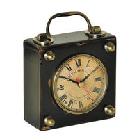 Royal Mail Travel Clock - Features Wooden Case in Black Finish with Brass Accents - Authentic Models SC045