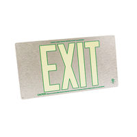 Single Face - Photoluminescent Exit Sign - Aluminum - Green Letter Outline - 50 ft. Viewing Distance - 20 Year Effective Life - Fulham FLPL50-S-SG