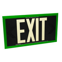 Single Face - Photoluminescent Exit Sign - Black - 50 ft. Viewing Distance - Green Frame - 20 Year Effective Life - Fulham FLPL50-S-B-G