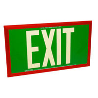 Single Face - Photoluminescent Exit Sign - Green - 50 ft. Viewing Distance - Red Frame - 20 Year Effective Life - Fulham FLPL50-S-G-R