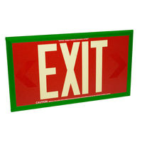 Single Face - Photoluminescent Exit Sign - Red - 50 ft. Viewing Distance - Green frame - 20 Year Effective Life - Fulham FLPL50-S-R-G