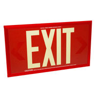 Single Face - Photoluminescent Exit Sign - Red - 50 ft. Viewing Distance - Red frame - 20 Year Effective Life - Fulham FLPL50-S-R-R