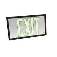 Single Face - Photoluminescent Exit Sign - Aluminum - Green Letter Outline - 50 ft. Viewing Distance - Black frame - 20 Year Effective Life - Fulham FLPL50-S-SG-B