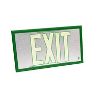 Single Face - Photoluminescent Exit Sign - Aluminum - Green Letter Outline - 50 ft. Viewing Distance - Green frame - 20 Year Effective Life - Fulham FLPL50-S-SG-G