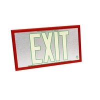 Single Face - Photoluminescent Exit Sign - Aluminum - Green Letter Outline - 50 ft. Viewing Distance - Red frame - 20 Year Effective Life - Fulham FLPL50-S-SG-R