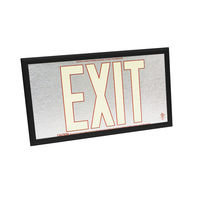 Single Face - Photoluminescent Exit Sign - Aluminum - Red Letter Outline - 50 ft. Viewing Distance - Black frame - 20 Year Effective Life - Fulham FLPL50-S-SR-B