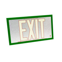 Single Face - Photoluminescent Exit Sign - Aluminum - Red Letter Outline - 50 ft. Viewing Distance - Green frame - 20 Year Effective Life - Fulham FLPL50-S-SR-G