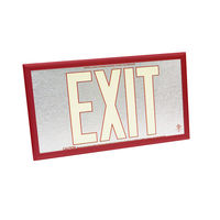 Single Face - Photoluminescent Exit Sign - Aluminum - Red Letter Outline - 50 ft. Viewing Distance - Red frame - 20 Year Effective Life - Fulham FLPL50-S-SR-R