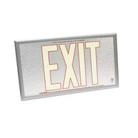Single Face - Photoluminescent Exit Sign - Aluminum - Red Letter Outline - 50 ft. Viewing Distance - Silver frame - 20 Year Effective Life - Fulham FLPL50-S-SR-S