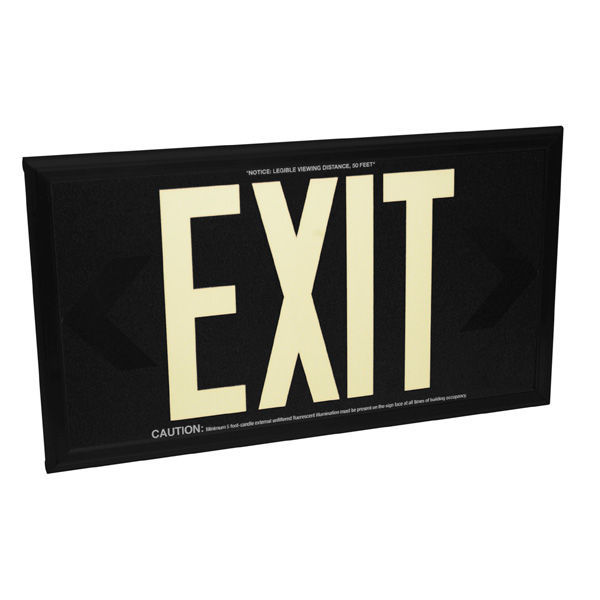 Double Face - Photoluminescent Exit Sign - Black Image