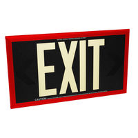 Double Face - Photoluminescent Exit Sign - Black - 50 ft. Viewing Distance - Red Frame - 20 Year Effective Life - Fulham FLPL50-D-B-R