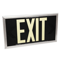 Double Face - Photoluminescent Exit Sign - Black - 50 ft. Viewing Distance - Silver Frame - 20 Year Effective Life - Fulham FLPL50-D-B-S