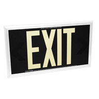 Double Face - Photoluminescent Exit Sign - Black - 50 ft. Viewing Distance - White Frame - 20 Year Effective Life - Fulham FLPL50-D-B-W