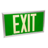 Double Face - Photoluminescent Exit Sign - Green - 50 ft. Viewing Distance - Silver Frame - 20 Year Effective Life - Fulham FLPL50-D-G-S