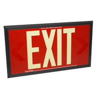 Double Face - Photoluminescent Exit Sign - Red - 50 ft. Viewing Distance - Black Frame - 20 Year Effective Life - Fulham FLPL50-D-R-B