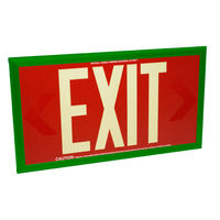 Double Face - Photoluminescent Exit Sign - Red - 50 ft. Viewing Distance - Green Frame - 20 Year Effective Life - Fulham FLPL50-D-R-G