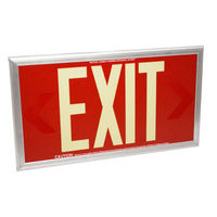Double Face - Photoluminescent Exit Sign - Red - 50 ft. Viewing Distance - Silver Frame - 20 Year Effective Life - Fulham FLPL50-D-R-S