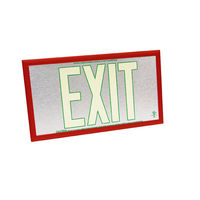Double Face - Photoluminescent Exit Sign - Aluminum - Green Letter Outline - 50 ft. Viewing Distance - Red Frame - 20 Year Effective Life - Fulham FLPL50-D-SG-R