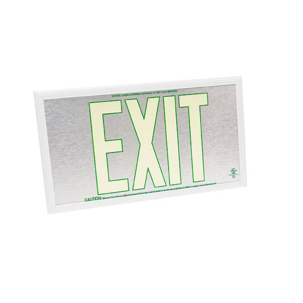 Double Face - Photoluminescent Exit Sign - Aluminum Image