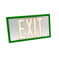 Double Face - Photoluminescent Exit Sign - Aluminum - Red Letter Outline - 50 ft. Viewing Distance - Green Frame - 20 Year Effective Life - Fulham FLPL50-D-SR-G