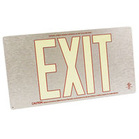 Single Face - Photoluminescent Exit Sign - Aluminum - Red Letter Outline - 50 ft. Viewing Distance - 20 Year Effective Life - Fulham FLPL50-S-SR