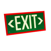 Double Face - Photoluminescent Exit Sign - Green - Red frame - 50 ft. Viewing Distance - 25 Year Effective Life - Includes Polycarbonate Face Panel - Fulham FLPL51-D-G-R
