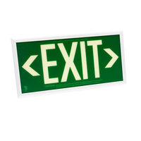Double Face - Photoluminescent Exit Sign - Green - White frame - 50 ft. Viewing Distance - 25 Year Effective Life - Includes Polycarbonate Face Panel - Fulham FLPL51-D-G-W