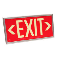 Double Face - Photoluminescent Exit Sign - Red - Silver frame - 50 ft. Viewing Distance - 25 Year Effective Life - Includes Polycarbonate Face Panel - Fulham FLPL51-D-R-S