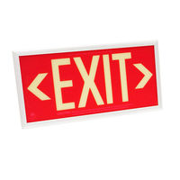 Double Face - Photoluminescent Exit Sign - Red - White frame - 50 ft. Viewing Distance - 25 Year Effective Life - Includes Polycarbonate Face Panel - Fulham FLPL51-D-R-W