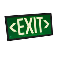 Single Face - Photoluminescent Exit Sign - Green - Black Frame - 50 ft. Viewing Distance - 25 Year Effective Life - Includes Polycarbonate Face Panel - Fulham FLPL51-S-G-B