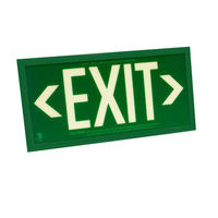 Single Face - Photoluminescent Exit Sign - Green - Green Frame - 50 ft. Viewing Distance - 25 Year Effective Life - Includes Polycarbonate Face Panel - Fulham FLPL51-S-G-G