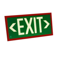 Single Face - Photoluminescent Exit Sign - Green - Red Frame - 50 ft. Viewing Distance - 25 Year Effective Life - Includes Polycarbonate Face Panel - Fulham FLPL51-S-G-R