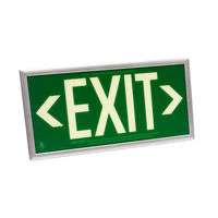 Single Face - Photoluminescent Exit Sign - Green - Silver Frame - 50 ft. Viewing Distance - 25 Year Effective Life - Includes Polycarbonate Face Panel - Fulham FLPL51-S-G-S