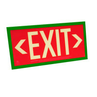 Single Face - Photoluminescent Exit Sign - Red - Green Frame - 50 ft. Viewing Distance - 25 Year Effective Life - Includes Polycarbonate Face Panel - Fulham FLPL51-S-R-G