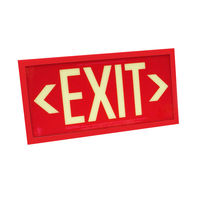 Single Face - Photoluminescent Exit Sign - Red - Red Frame - 50 ft. Viewing Distance - 25 Year Effective Life - Includes Polycarbonate Face Panel - Fulham FLPL51-S-R-R
