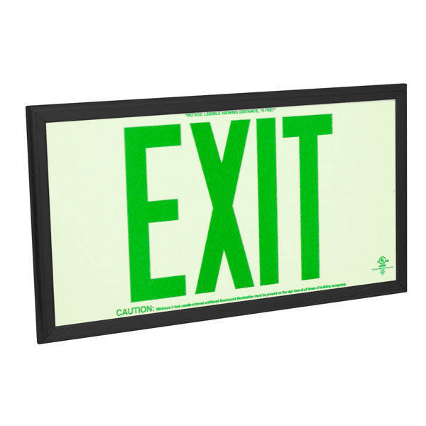Double Face - Photoluminescent Exit Sign - Green Letters Image