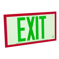Double Face - Photoluminescent Exit Sign - Green Letters - Red frame - 75 ft. Viewing Distance - Fulham FLPL75-D-G-R