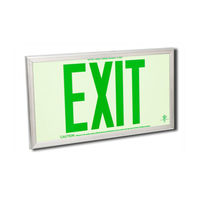 Single Face - Photoluminescent Exit Sign - Green Letters - Silver Frame - 75 ft. Viewing Distance - Fulham FLPL75-S-G-S