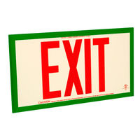 Single Face - Photoluminescent Exit Sign - Red Letters - Green Frame - 75 ft. Viewing Distance - Fulham FLPL75-S-R-G