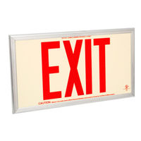 Single Face - Photoluminescent Exit Sign - Red Letters - Silver Frame - 75 ft. Viewing Distance - Fulham FLPL75-S-R-S