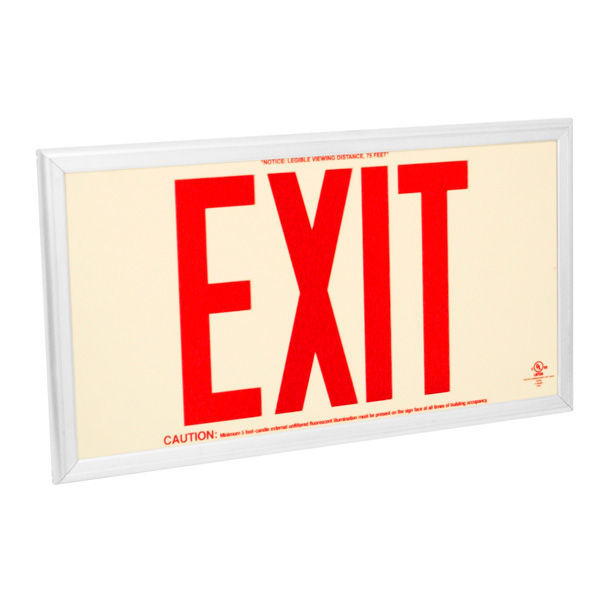 Single Face - Photoluminescent Exit Sign - Red Letters Image