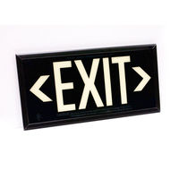 Single Face - Photoluminescent Exit Sign - Black - Black Frame - 50 ft. Viewing Distance - 25 Year Effective Life - Includes Polycarbonate Face Panel - Fulham FLPL51-S-B-B