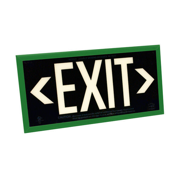 Single Face - Photoluminescent Exit Sign - Black Image