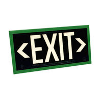 Single Face - Photoluminescent Exit Sign - Black - Green Frame - 50 ft. Viewing Distance - 25 Year Effective Life - Includes Polycarbonate Face Panel - Fulham FLPL51-S-B-G