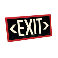 Single Face - Photoluminescent Exit Sign - Black - Red Frame - 50 ft. Viewing Distance - 25 Year Effective Life - Includes Polycarbonate Face Panel - Fulham FLPL51-S-B-R