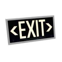 Single Face - Photoluminescent Exit Sign - Black - Silver Frame - 50 ft. Viewing Distance - 25 Year Effective Life - Includes Polycarbonate Face Panel - Fulham FLPL51-S-B-S