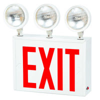 FireHorse NYC Combo Exit Sign - 3 Adjustable Lamp Heads - 27 Watt - 90 Min. Run Time - 120/277 With Battery Backup - White Steel - Approved for use in New York City - Fulham FHNY30-W-EM