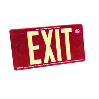 Single Face - Photoluminescent Exit Sign - Red - 100 ft. Viewing Distance - 20 Year Effective Life - Fulham FLPL10-S-R