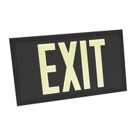 Single Face - Photoluminescent Exit Sign - Black - Black Frame - 100 ft. Viewing Distance - 20 Year Effective Life - Fulham FLPL10-S-B-B